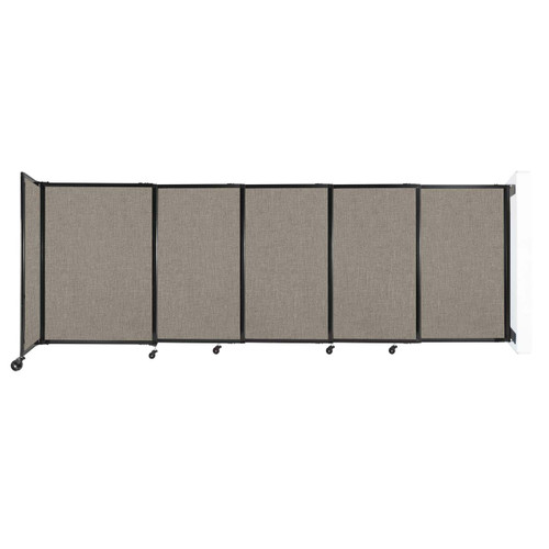 """Wall-Mounted StraightWall Sliding Partition 11'3"""" x 4' Warm Pebble Fabric"""