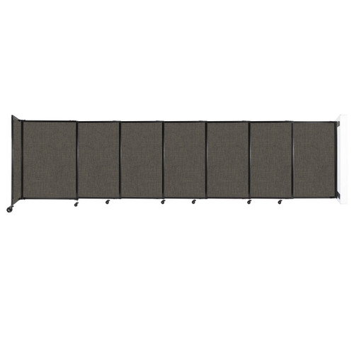 """Wall-Mounted StraightWall Sliding Partition 15'6"""" x 4' Mocha Fabric"""
