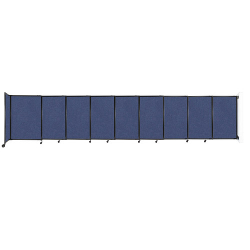 """Wall-Mounted StraightWall Sliding Partition 19'9"""" x 4' Cerulean Fabric"""