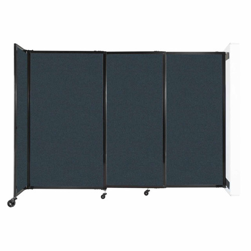 """Wall-Mounted StraightWall Sliding Partition 7'2"""" x 5' Blue Spruce Fabric"""