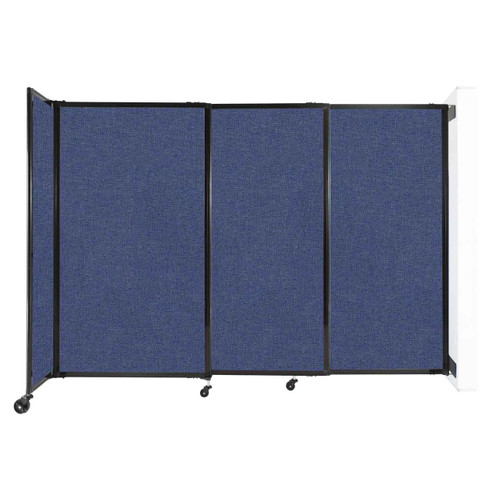 """Wall-Mounted StraightWall Sliding Partition 7'2"""" x 5' Cerulean Fabric"""