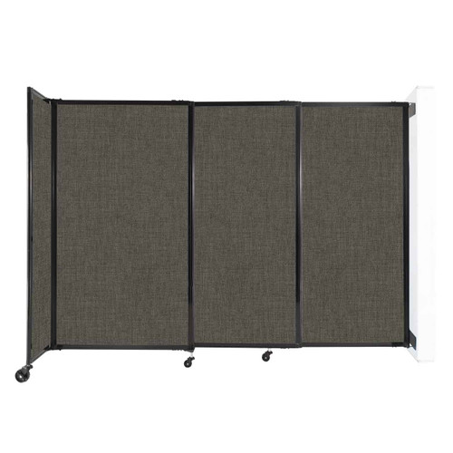 """Wall-Mounted StraightWall Sliding Partition 7'2"""" x 5' Mocha Fabric"""