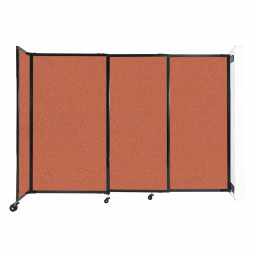 "Wall-Mounted StraightWall Sliding Partition 7'2"" x 5' Papaya Fabric"