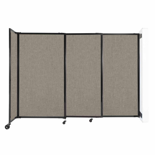 """Wall-Mounted StraightWall Sliding Partition 7'2"""" x 5' Warm Pebble Fabric"""