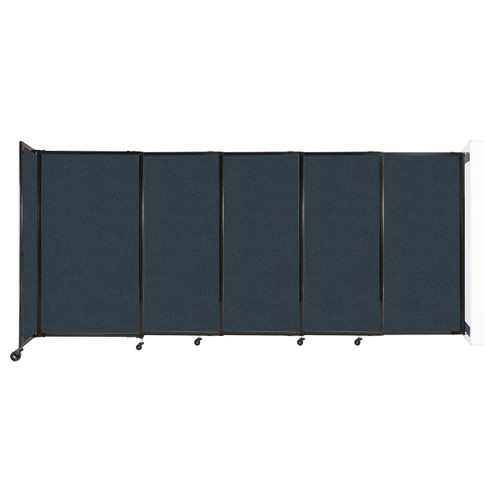 """Wall-Mounted StraightWall Sliding Partition 11'3"""" x 5' Blue Spruce Fabric"""