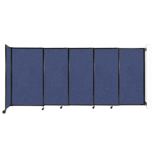 """Wall-Mounted StraightWall Sliding Partition 11'3"""" x 5' Cerulean Fabric"""