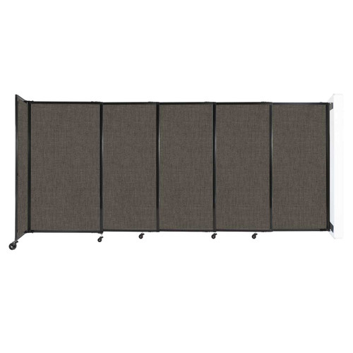 """Wall-Mounted StraightWall Sliding Partition 11'3"""" x 5' Mocha Fabric"""
