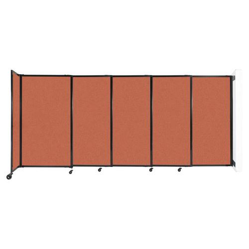 "Wall-Mounted StraightWall Sliding Partition 11'3"" x 5' Papaya Fabric"