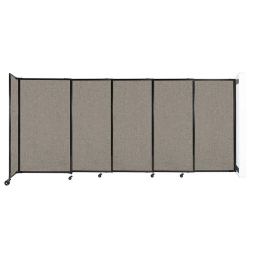 """Wall-Mounted StraightWall Sliding Partition 11'3"""" x 5' Warm Pebble Fabric"""