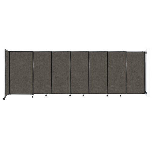 """Wall-Mounted StraightWall Sliding Partition 15'6"""" x 5' Mocha Fabric"""