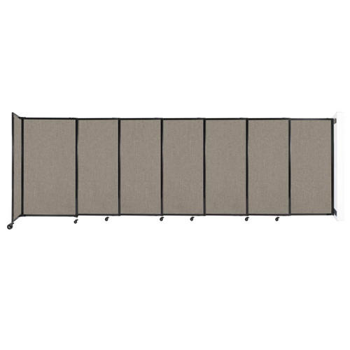 """Wall-Mounted StraightWall Sliding Partition 15'6"""" x 5' Warm Pebble Fabric"""