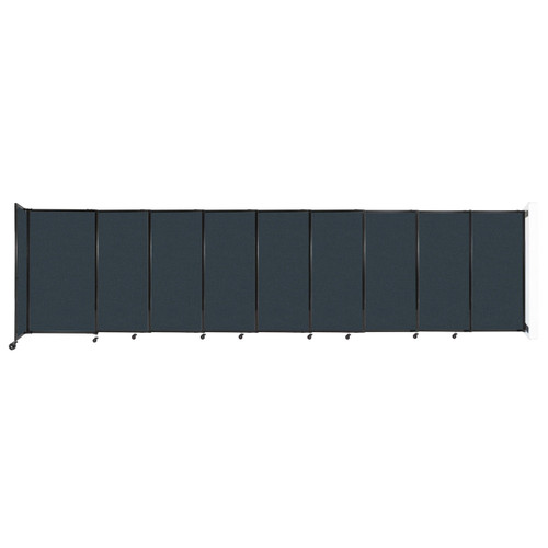 """Wall-Mounted StraightWall Sliding Partition 19'9"""" x 5' Blue Spruce Fabric"""