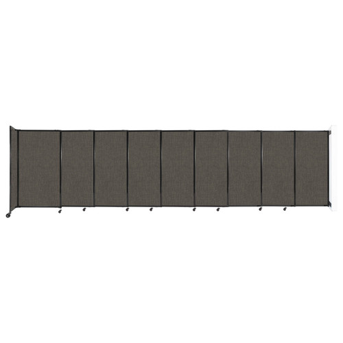 """Wall-Mounted StraightWall Sliding Partition 19'9"""" x 5' Mocha Fabric"""