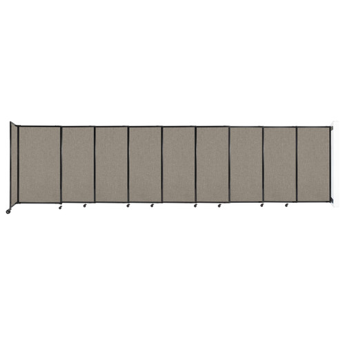 """Wall-Mounted StraightWall Sliding Partition 19'9"""" x 5' Warm Pebble Fabric"""