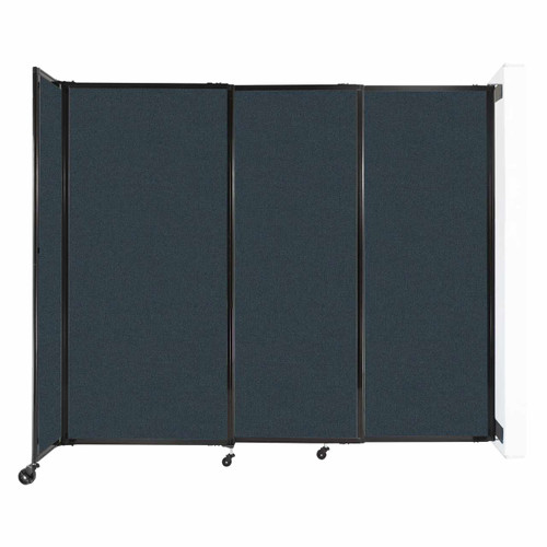 """Wall-Mounted StraightWall Sliding Partition 7'2"""" x 6' Blue Spruce Fabric"""
