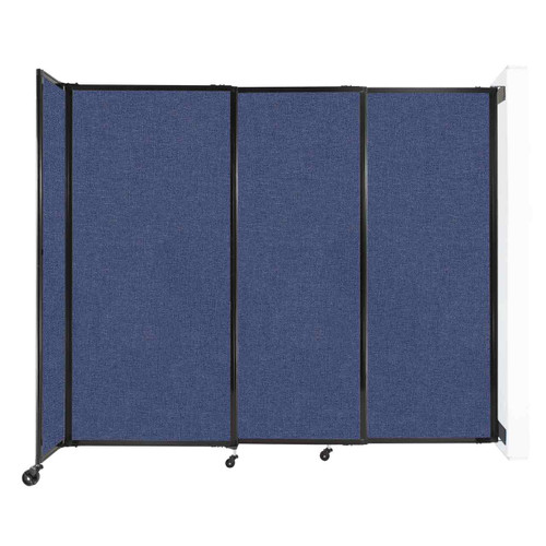 """Wall-Mounted StraightWall Sliding Partition 7'2"""" x 6' Cerulean Fabric"""