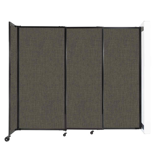 """Wall-Mounted StraightWall Sliding Partition 7'2"""" x 6' Mocha Fabric"""