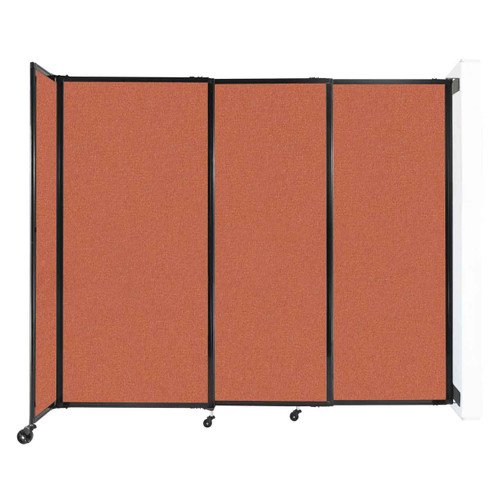 "Wall-Mounted StraightWall Sliding Partition 7'2"" x 6' Papaya Fabric"