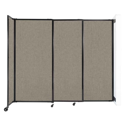 """Wall-Mounted StraightWall Sliding Partition 7'2"""" x 6' Warm Pebble Fabric"""