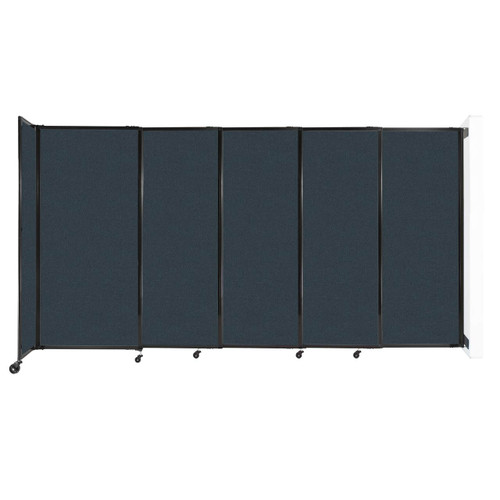 """Wall-Mounted StraightWall Sliding Partition 11'3"""" x 6' Blue Spruce Fabric"""