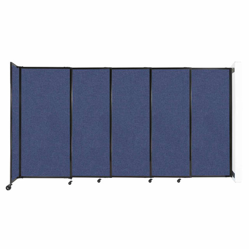 """Wall-Mounted StraightWall Sliding Partition 11'3"""" x 6' Cerulean Fabric"""