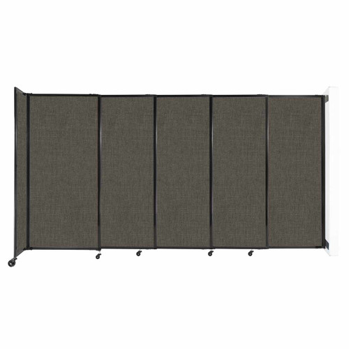 """Wall-Mounted StraightWall Sliding Partition 11'3"""" x 6' Mocha Fabric"""