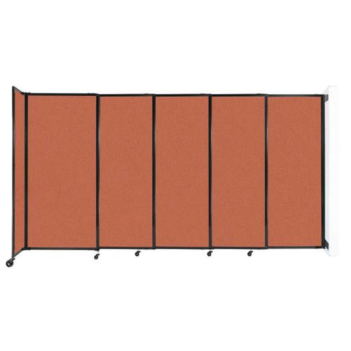 "Wall-Mounted StraightWall Sliding Partition 11'3"" x 6' Papaya Fabric"