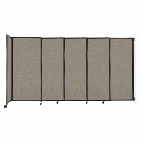"""Wall-Mounted StraightWall Sliding Partition 11'3"""" x 6' Warm Pebble Fabric"""