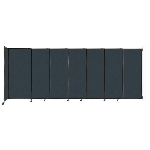 """Wall-Mounted StraightWall Sliding Partition 15'6"""" x 6' Blue Spruce Fabric"""