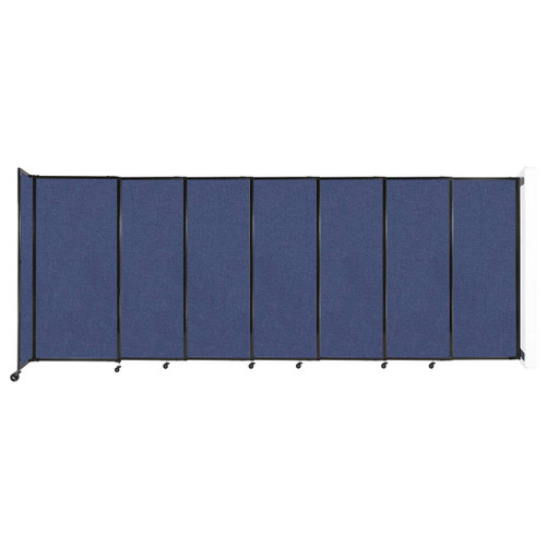 """Wall-Mounted StraightWall Sliding Partition 15'6"""" x 6' Cerulean Fabric"""