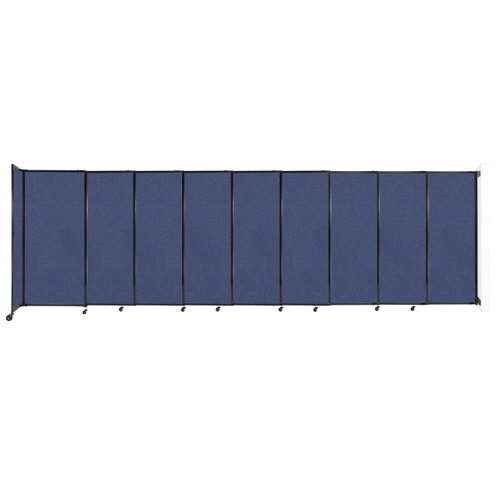 """Wall-Mounted StraightWall Sliding Partition 19'9"""" x 6' Cerulean Fabric"""