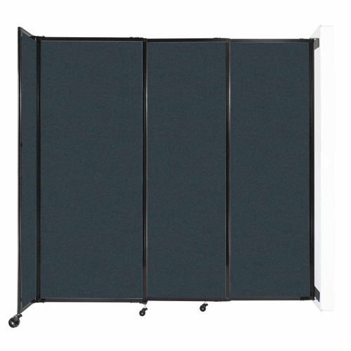 """Wall-Mounted StraightWall Sliding Partition 7'2"""" x 6'10"""" Blue Spruce Fabric"""