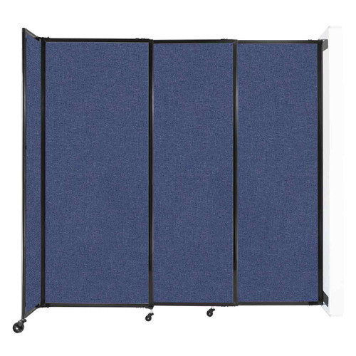 """Wall-Mounted StraightWall Sliding Partition 7'2"""" x 6'10"""" Cerulean Fabric"""