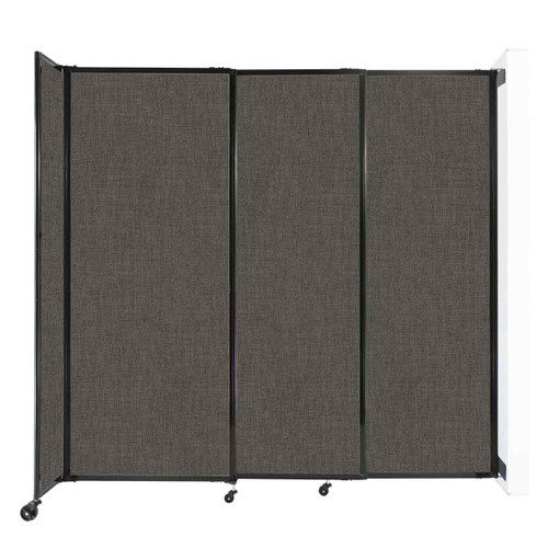 """Wall-Mounted StraightWall Sliding Partition 7'2"""" x 6'10"""" Mocha Fabric"""