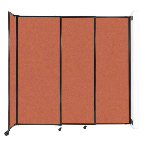 "Wall-Mounted StraightWall Sliding Partition 7'2"" x 6'10"" Papaya Fabric"