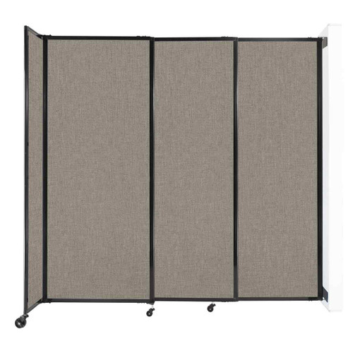 """Wall-Mounted StraightWall Sliding Partition 7'2"""" x 6'10"""" Warm Pebble Fabric"""
