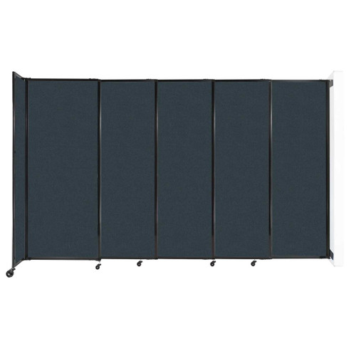 """Wall-Mounted StraightWall Sliding Partition 11'3"""" x 6'10"""" Blue Spruce Fabric"""