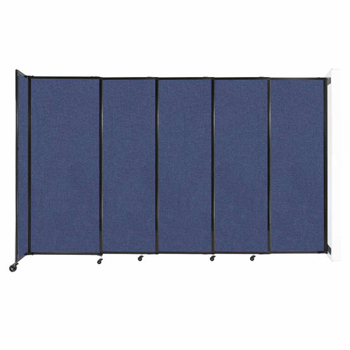"""Wall-Mounted StraightWall Sliding Partition 11'3"""" x 6'10"""" Cerulean Fabric"""