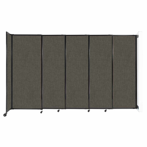 """Wall-Mounted StraightWall Sliding Partition 11'3"""" x 6'10"""" Mocha Fabric"""