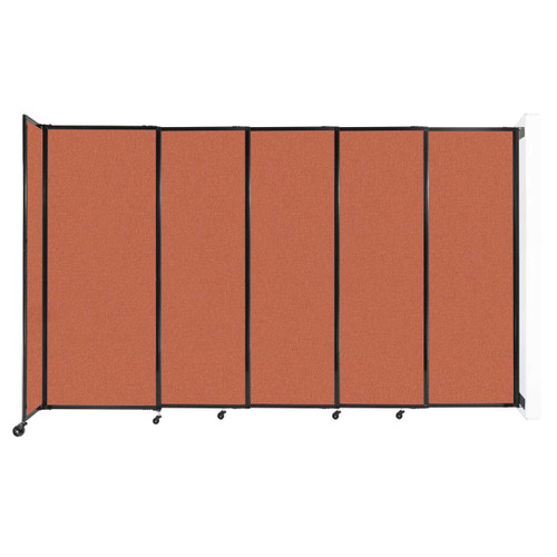 "Wall-Mounted StraightWall Sliding Partition 11'3"" x 6'10"" Papaya Fabric"