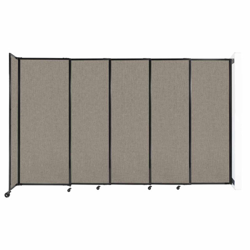 """Wall-Mounted StraightWall Sliding Partition 11'3"""" x 6'10"""" Warm Pebble Fabric"""
