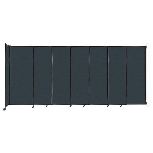 """Wall-Mounted StraightWall Sliding Partition 15'6"""" x 6'10"""" Blue Spruce Fabric"""
