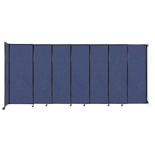 """Wall-Mounted StraightWall Sliding Partition 15'6"""" x 6'10"""" Cerulean Fabric"""