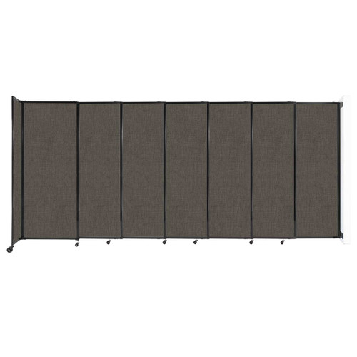 """Wall-Mounted StraightWall Sliding Partition 15'6"""" x 6'10"""" Mocha Fabric"""