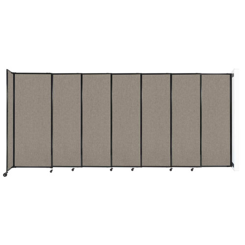 """Wall-Mounted StraightWall Sliding Partition 15'6"""" x 6'10"""" Warm Pebble Fabric"""