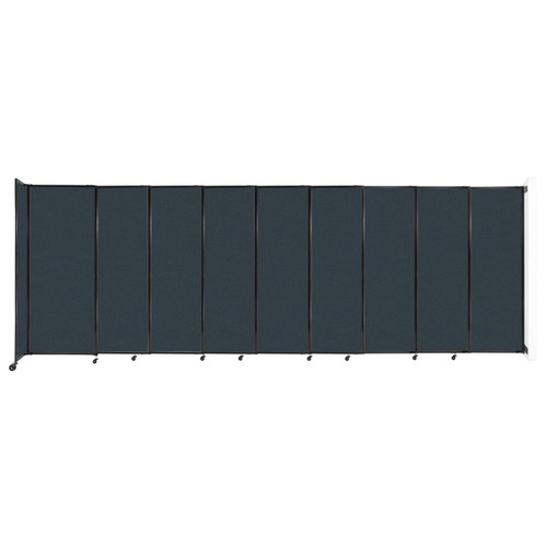 """Wall-Mounted StraightWall Sliding Partition 19'9"""" x 6'10"""" Blue Spruce Fabric"""