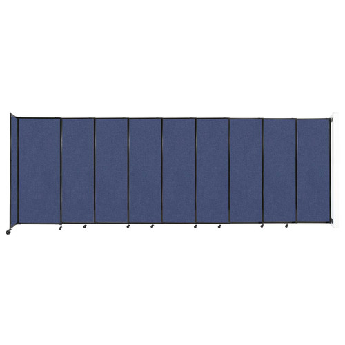 """Wall-Mounted StraightWall Sliding Partition 19'9"""" x 6'10"""" Cerulean Fabric"""