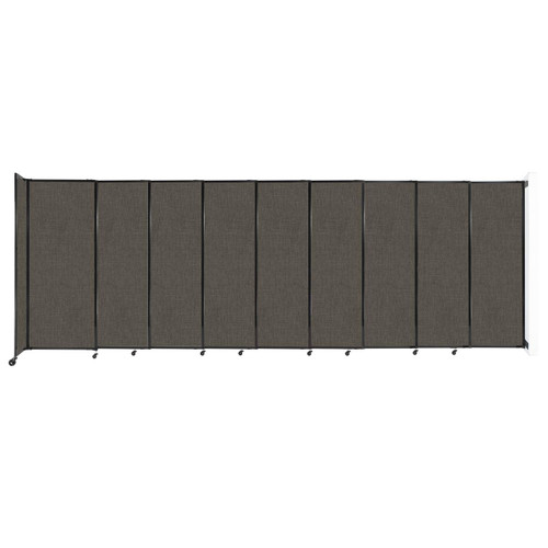 """Wall-Mounted StraightWall Sliding Partition 19'9"""" x 6'10"""" Mocha Fabric"""