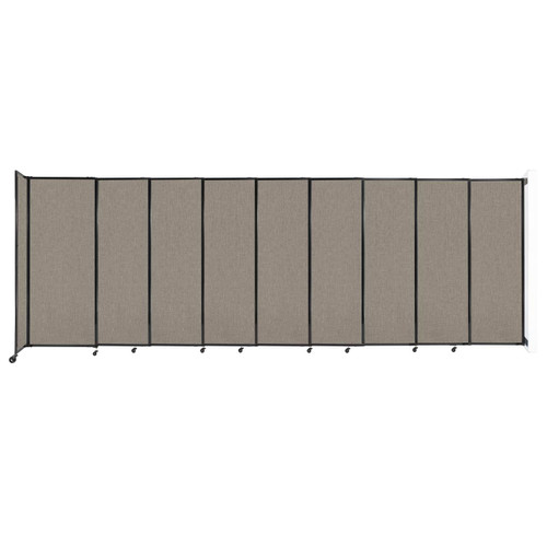 """Wall-Mounted StraightWall Sliding Partition 19'9"""" x 6'10"""" Warm Pebble Fabric"""