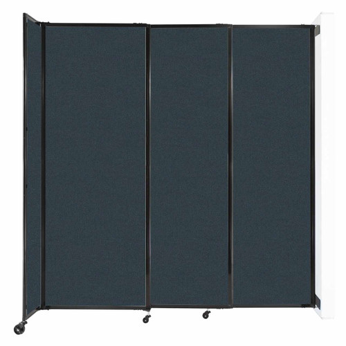 """Wall-Mounted StraightWall Sliding Partition 7'2"""" x 7'6"""" Blue Spruce Fabric"""